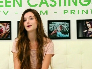 Hardfucked amateur jizzed in mouth at casting